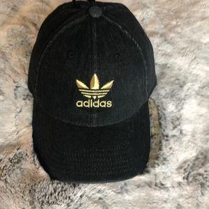 NWT Black Denim & Gold Adidas Cap